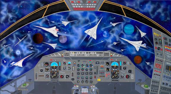 Eternal concorde 製造されたコンコルドが遥かなる宇宙で飛行している。