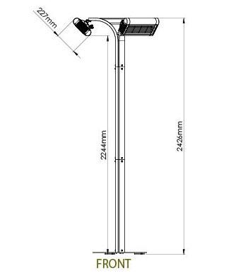 Technische Zeichnung TANSUN Heizung Modell Riviera