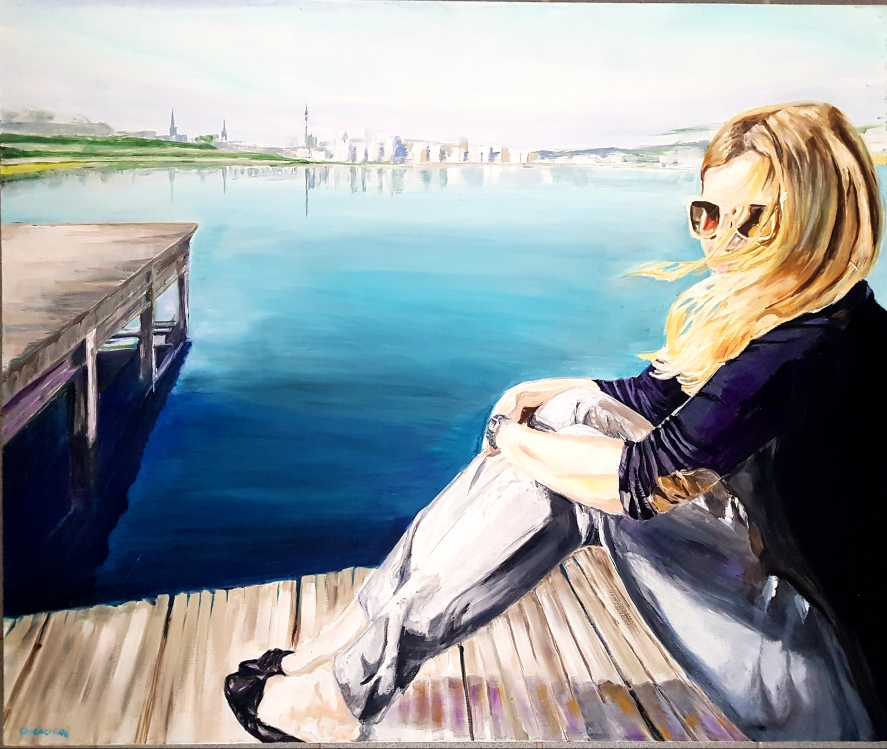 Am Phoenixsee, 100 x 120 cm, Acryl auf Leinwand