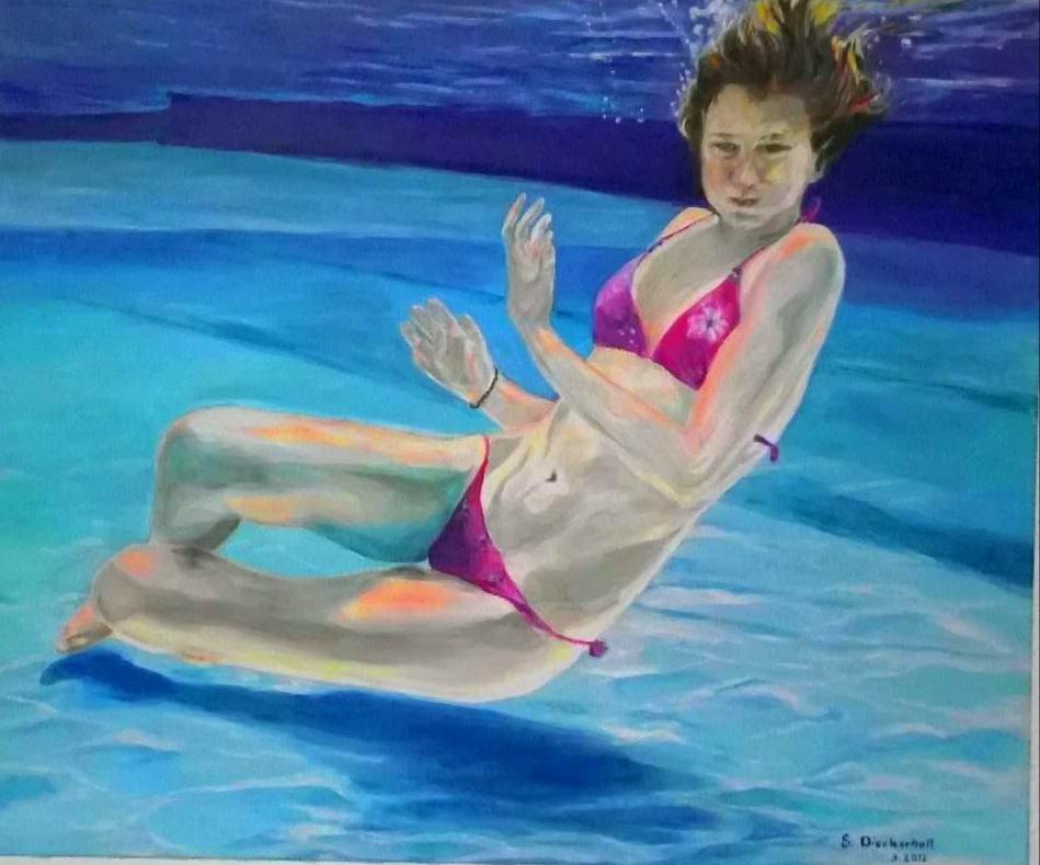 la piscine, 100 x 120, Acryl auf Leinwand