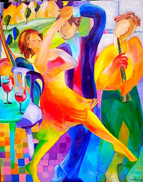 dancing with the cellist, 80 x  100,  Acryl auf Leinwand