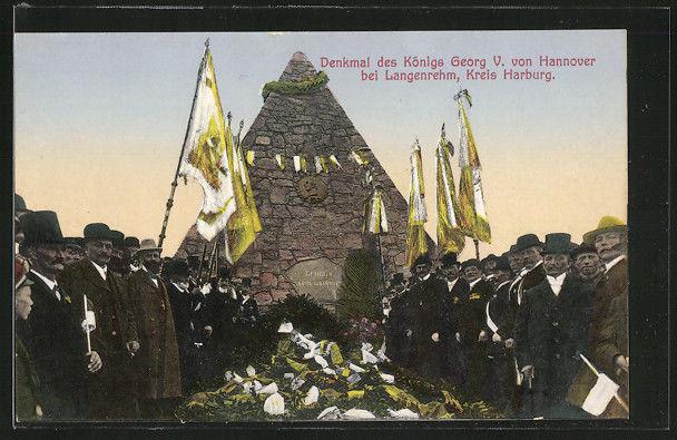 Die Einweihung 1911 von dem Denkaml König Georg V von Hannover errichtet aus 120 Fuhren Granitsteinen