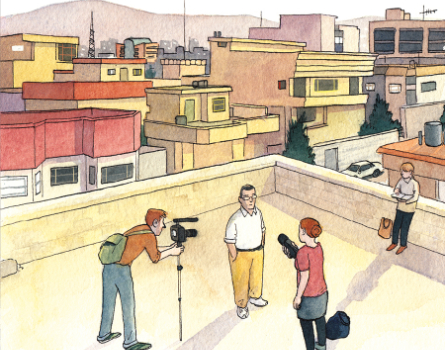 """Ausschnitt aus dem Titelbild der Graphic Novel """"Im Schatten des Krieges – Reportagen aus Syrien, dem Irak und der Türkei"""""""
