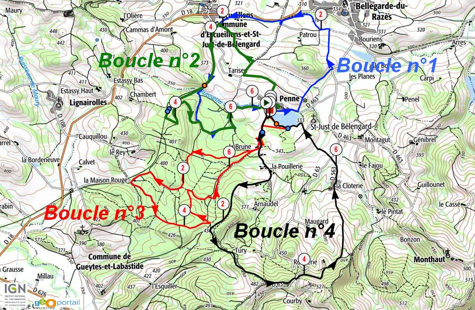 Rando Razès 2015 - Plan des parcours VTT
