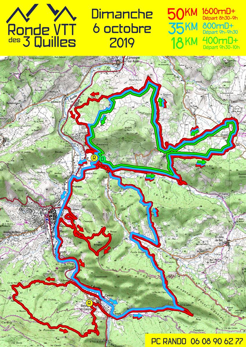 Parcours de la Ronde VTT des 3 Quilles 2019 au départ de Quillan