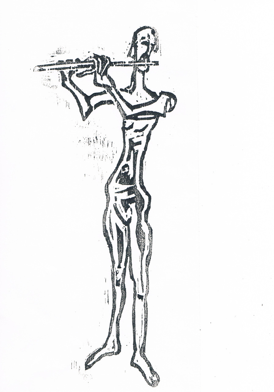 Querflötenspieler/1 Handabzug 2014 30x15cm