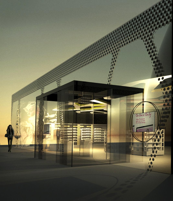 Rendering BIPA Fassade - Ideenwettbewerb Entwurf: Jürgen Kalcher-Rothenstein