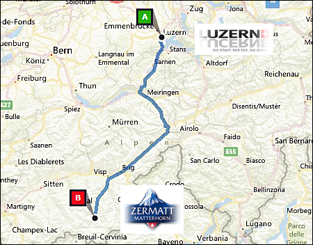 info@taxizermatt.ch Route Lugano - Zermatt