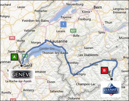 info@taxizermatt.ch Route Genf (Geneva) - Zermatt