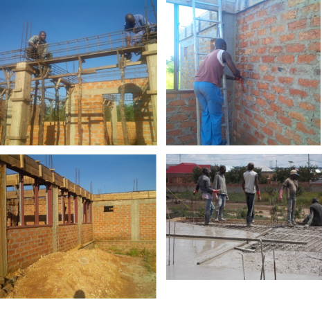 壁の建設、電気工事、柱、梁、トイレの建設