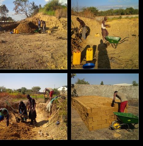 レンガ作り。蟻塚の土でレンガを作って炭または木を使って焼きます。