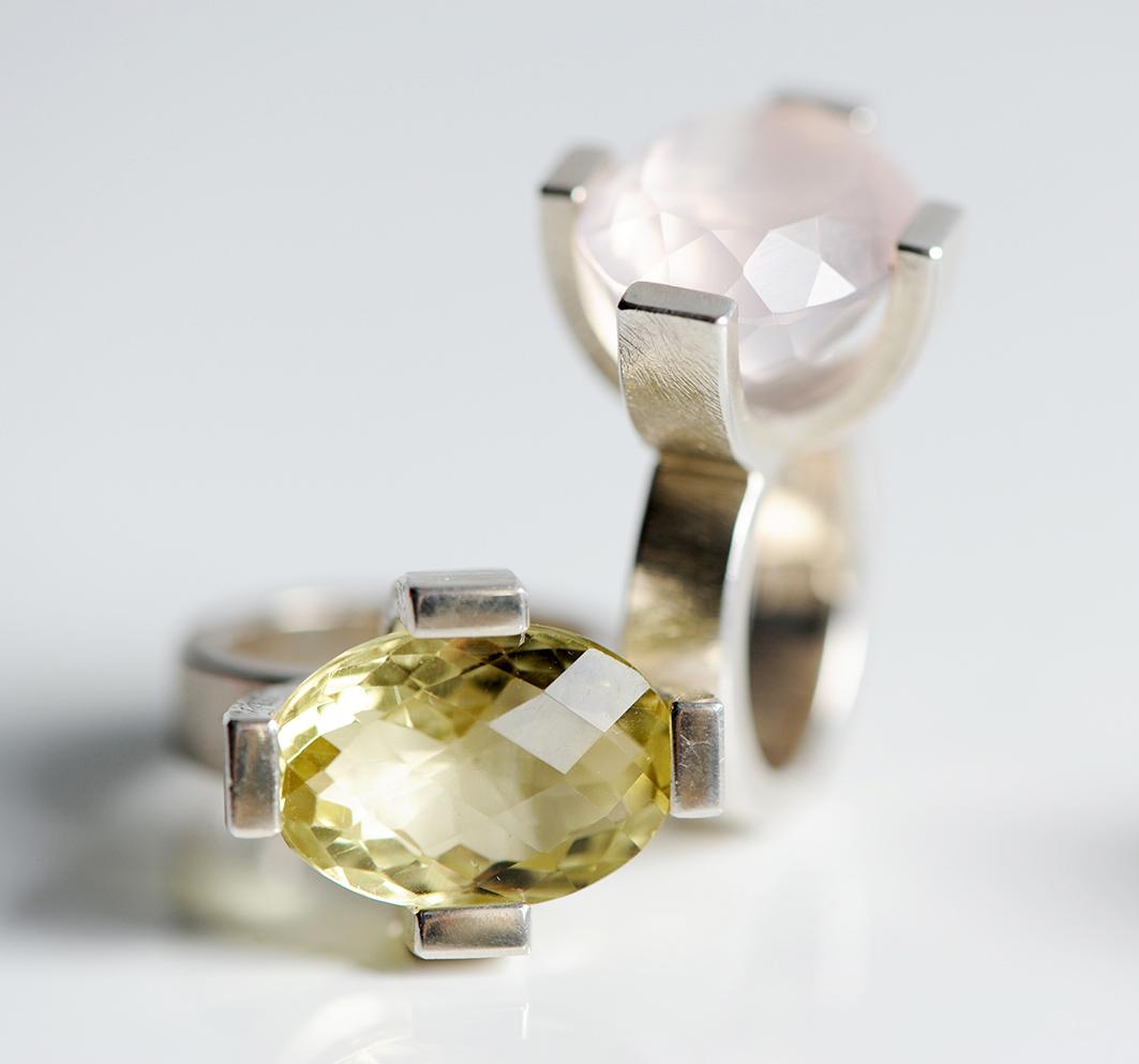 PrachtRinge • Citrin, Rosenquarz, Silber 925