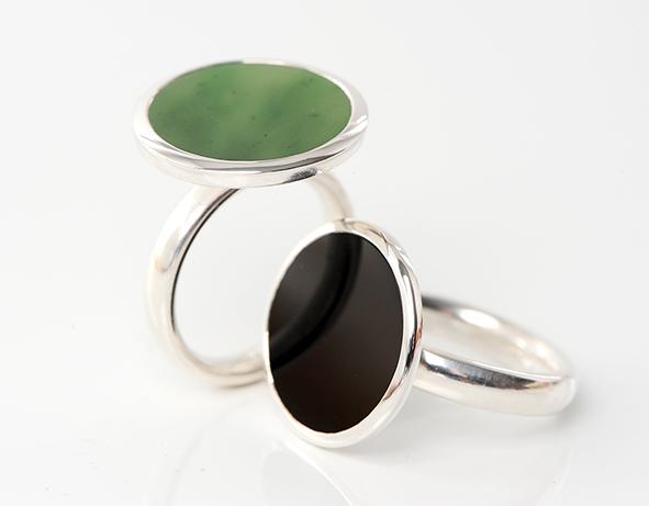 ScheibenRinge • Jade, Onix, Silber 925