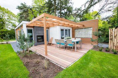 Te koop vakantiewoning op de Veluwe inclusief kavel, tuinaanleg op landgoed de Scheleberg (Lunteren)