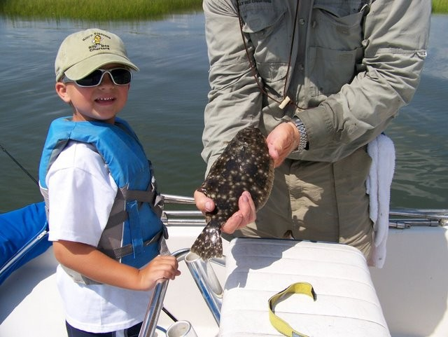 Lynes and his first flounder
