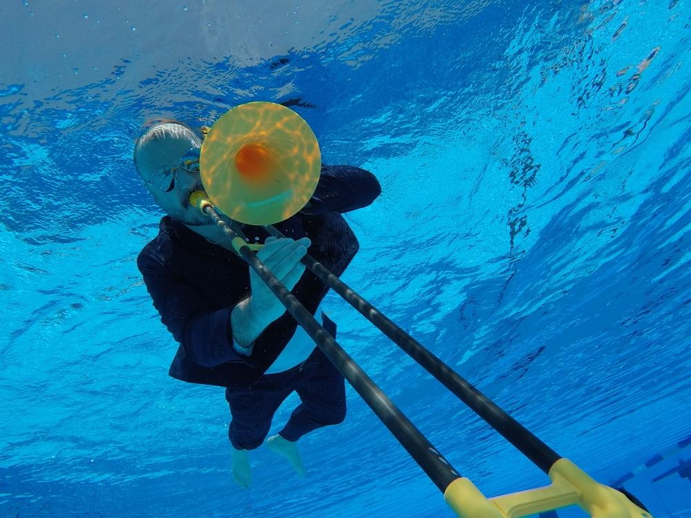 always fun playing trombone under water