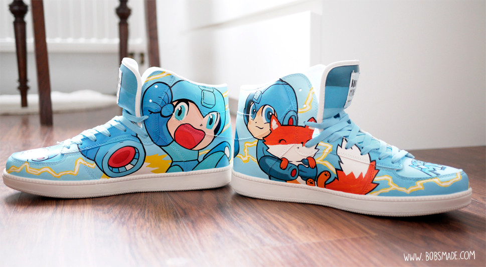 Capcoms  Megaman custom shoes sneaker bobsmade nerd games