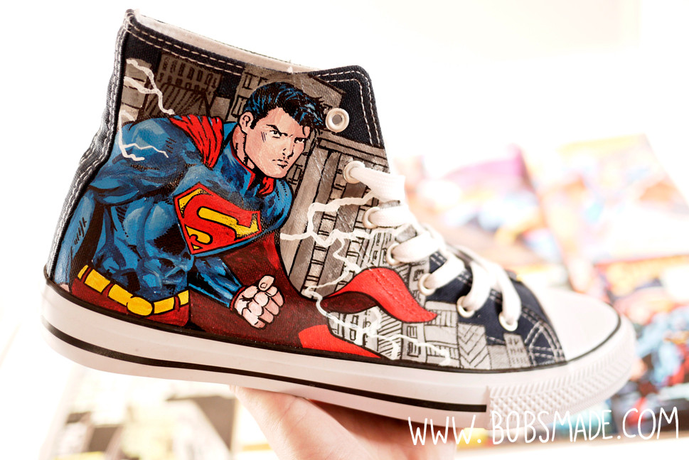 Superman Shoes painted by bobsmade