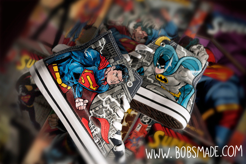 Batman vs. Superman 2013 2015 custom shoes marvel bobsmade fanart