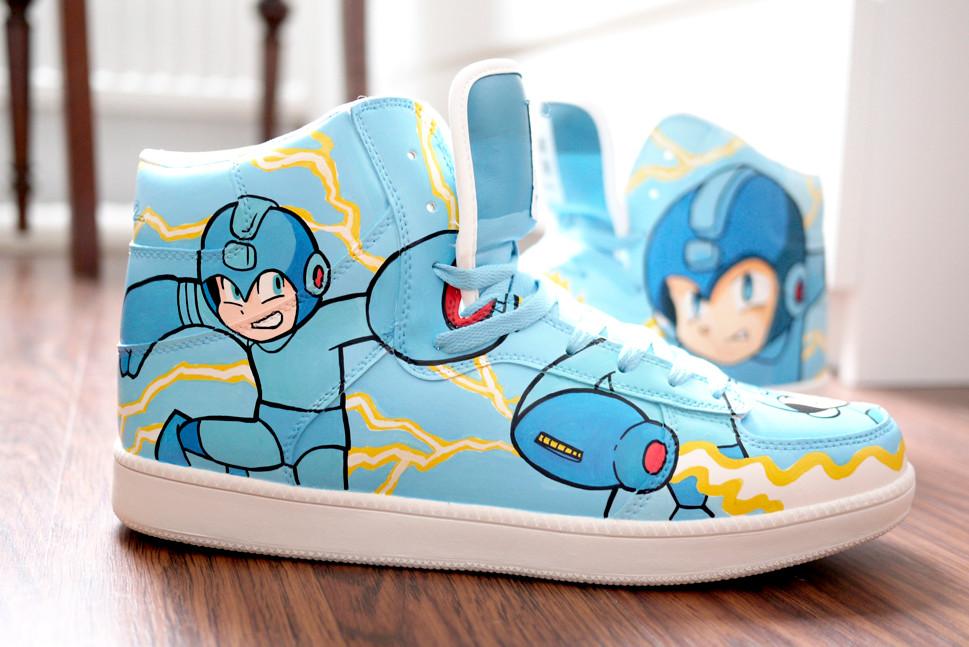 Capcoms  Megaman custom shoes sneaker bobsmade nerd games