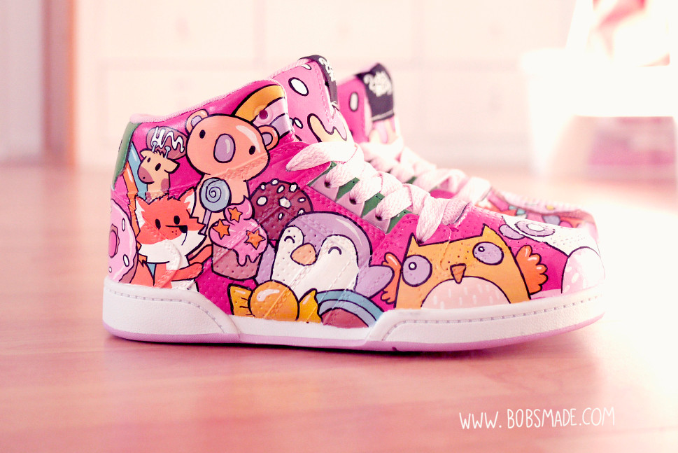Custom sneaker shoes bobsmade candy sugar donut cute animals