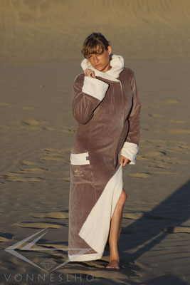 Damen Bademantel Kapuze warm
