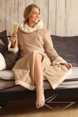 Damen Bademantel mit Kapuze hochwertig