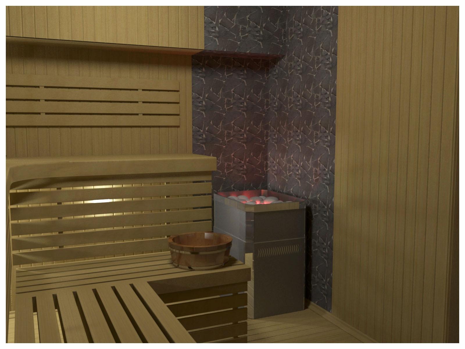 Дизайн интерьеров СПА в коттедже. Сауна 1.