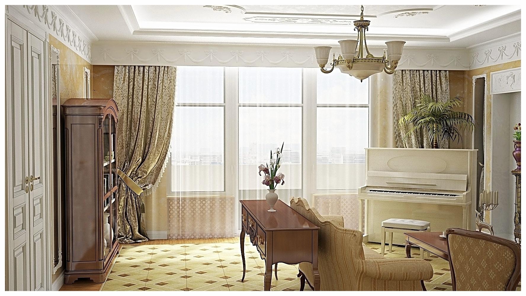 Дизайн интерьеров квартиры в дворцовом стиле. Гостиная 2.