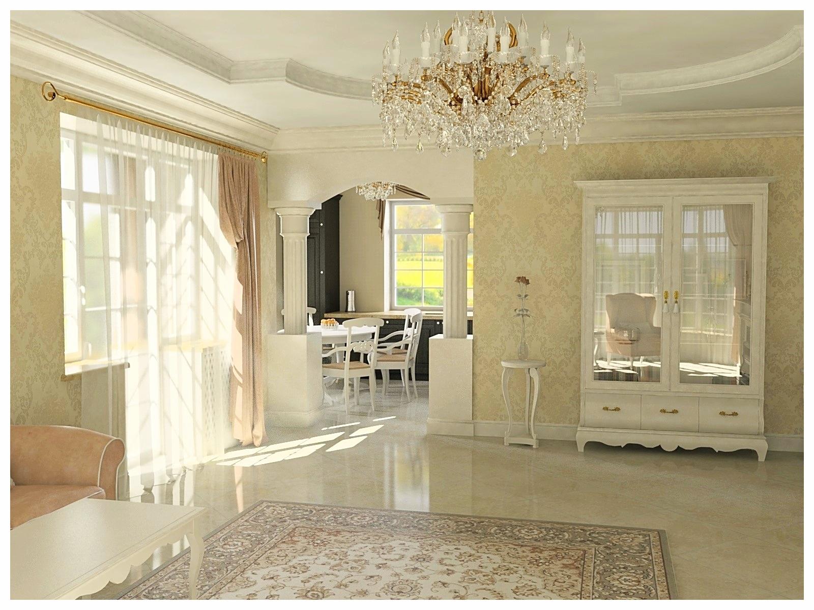 Дизайн интерьеров дома в классическом стиле. Гостиная 1.