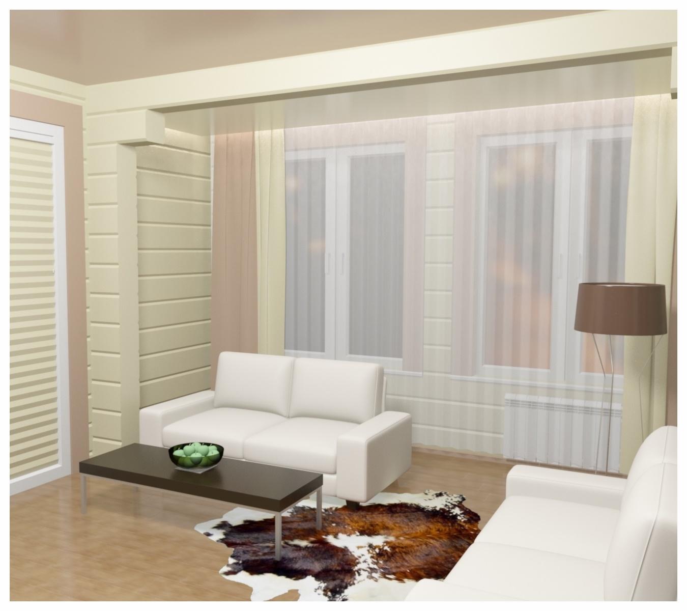 Дизайн интерьеров в коттедже из бруса по договору на дизайн проект. Вид на диваны.
