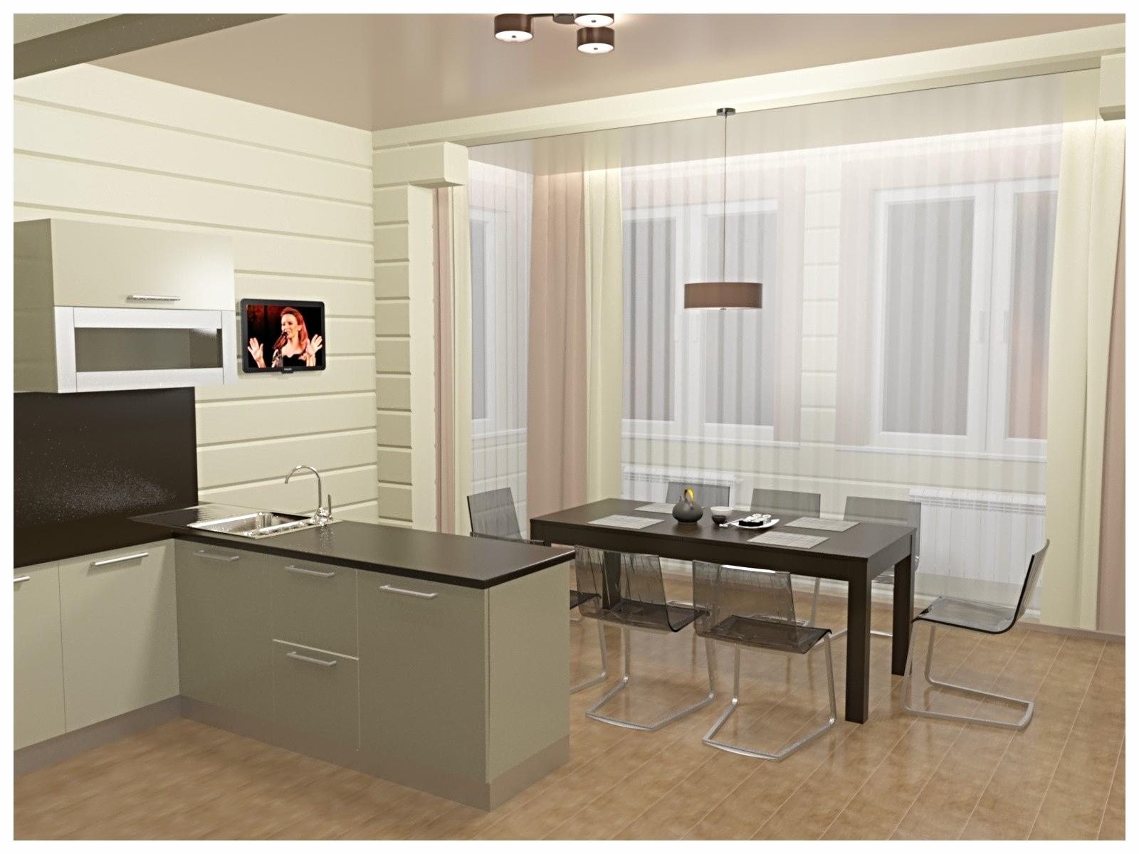 Дизайн интерьеров в коттедже из бруса. Барная стойка по договору на дизайн проект.