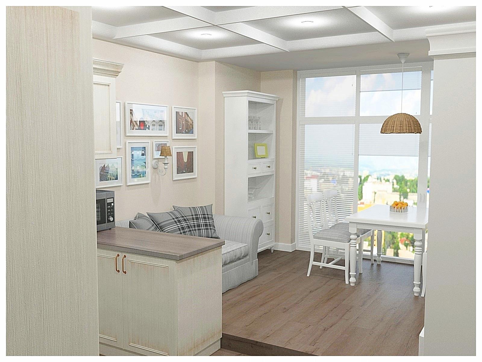 Дизайн интерьеров двухкомнатной квартиры. Гостиная-кухня 3.