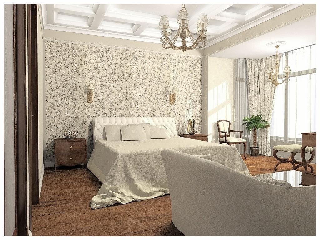 Дизайн интерьеров квартиры в эклектике. Спальня 1.