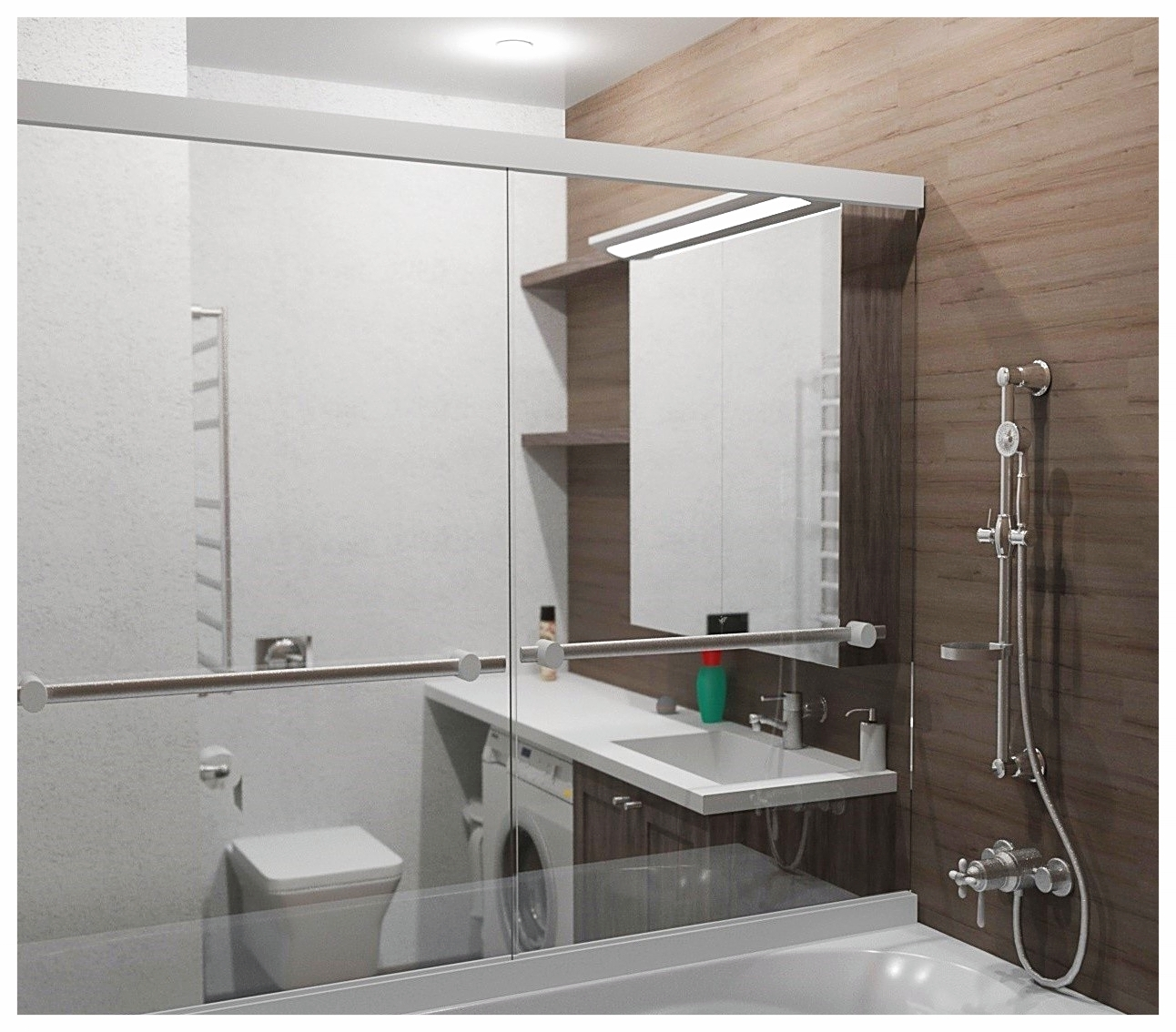 Дизайн интерьеров по договору на дизайн проект двухкомнатной квартиры. Санузел 1.
