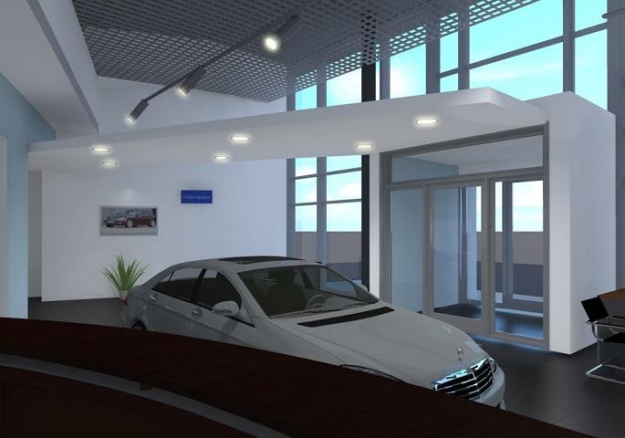 Дизайн интерьера автосалона Мерседес на ул. Орбели. Вид 1