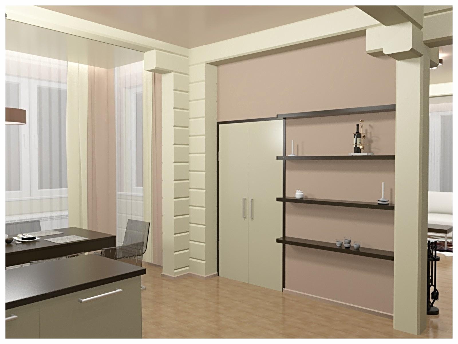 Дизайн интерьеров в коттедже из бруса. Стеллажи на кухне.