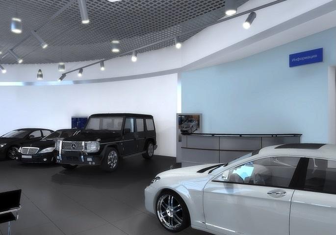 Дизайн интерьера автосалона Мерседес на ул. Орбели. Вид 2