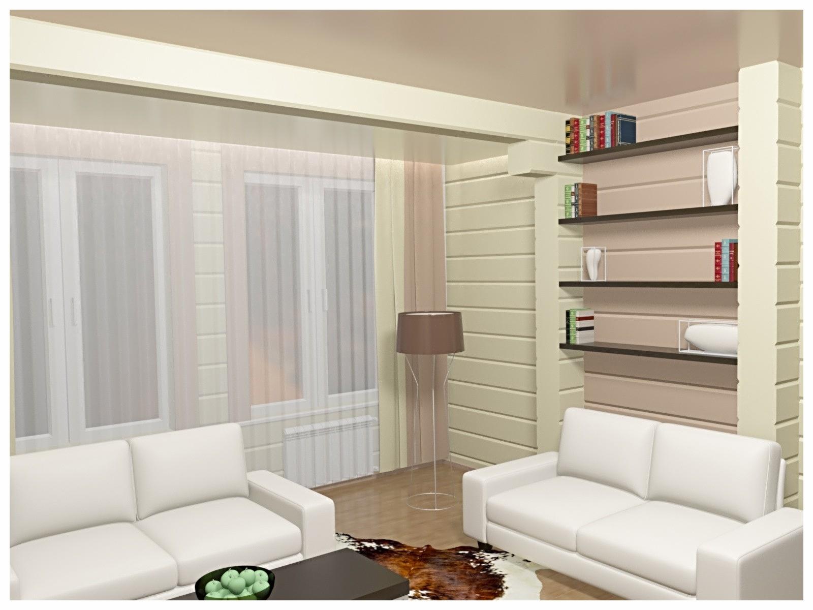 Дизайн интерьеров в коттедже из бруса по договору на дизайн проект. Зона мягкой мебели.