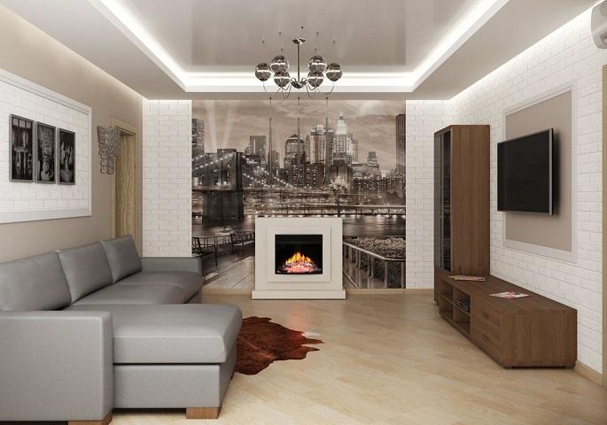 Дизайн интерьера квартиры на ул. Орджоникидзе. Гостиная