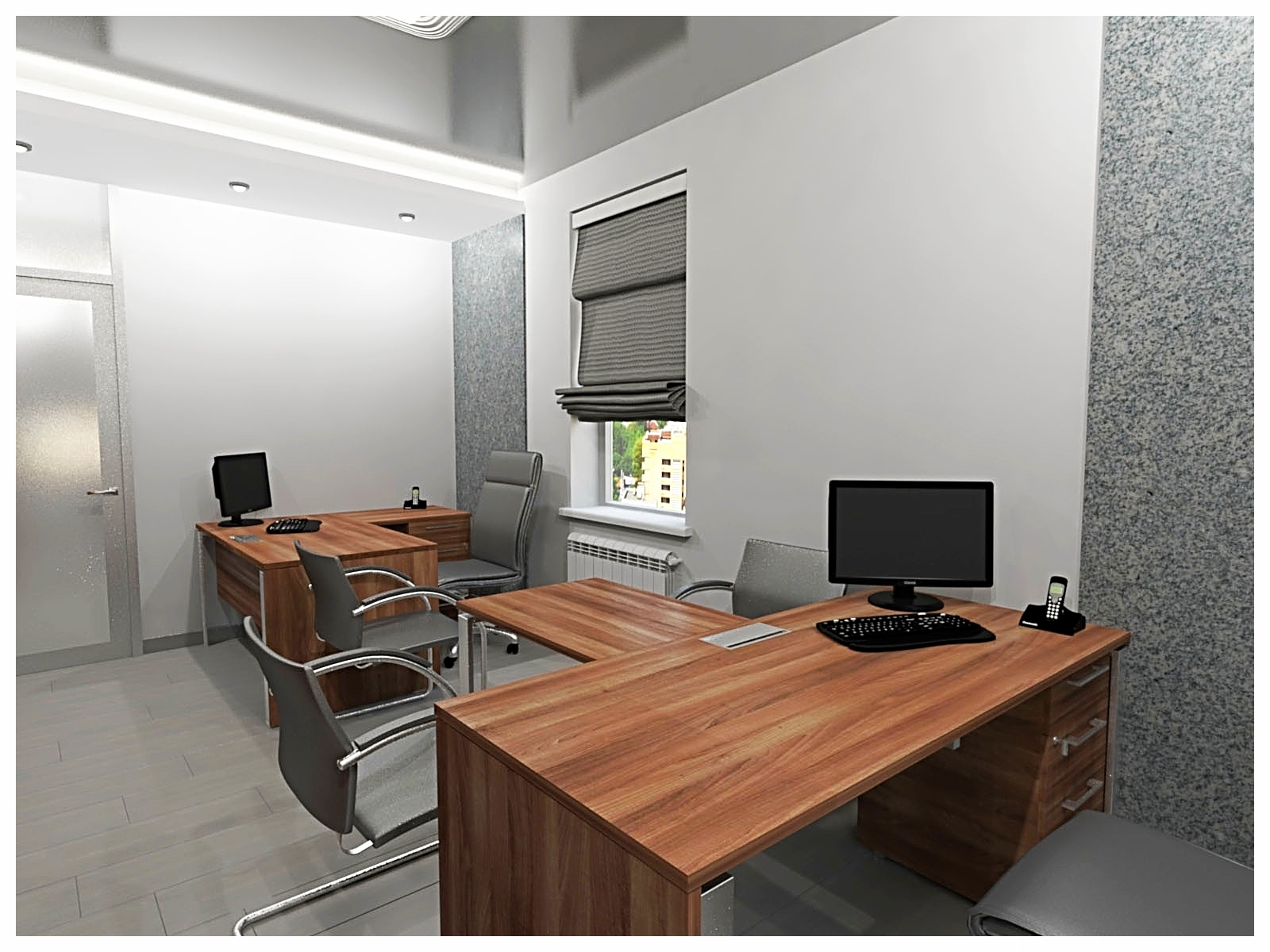 Дизайн интерьеров офиса. Кабинет на втором этаже 1.