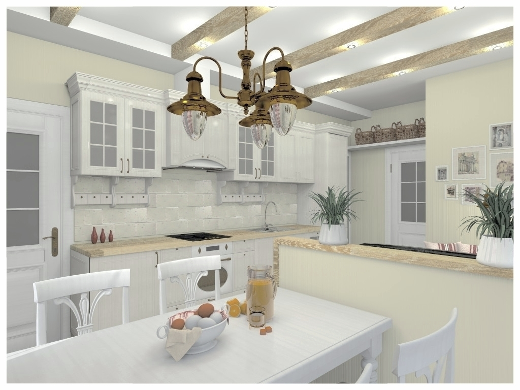 Дизайн интерьеров однокомнатной квартиры. Кухня-гостиная 3.