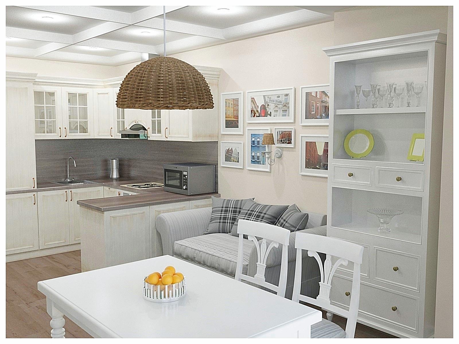 Дизайн интерьеров по договору на дизайн проект двухкомнатной квартиры. Гостиная-кухня 1.