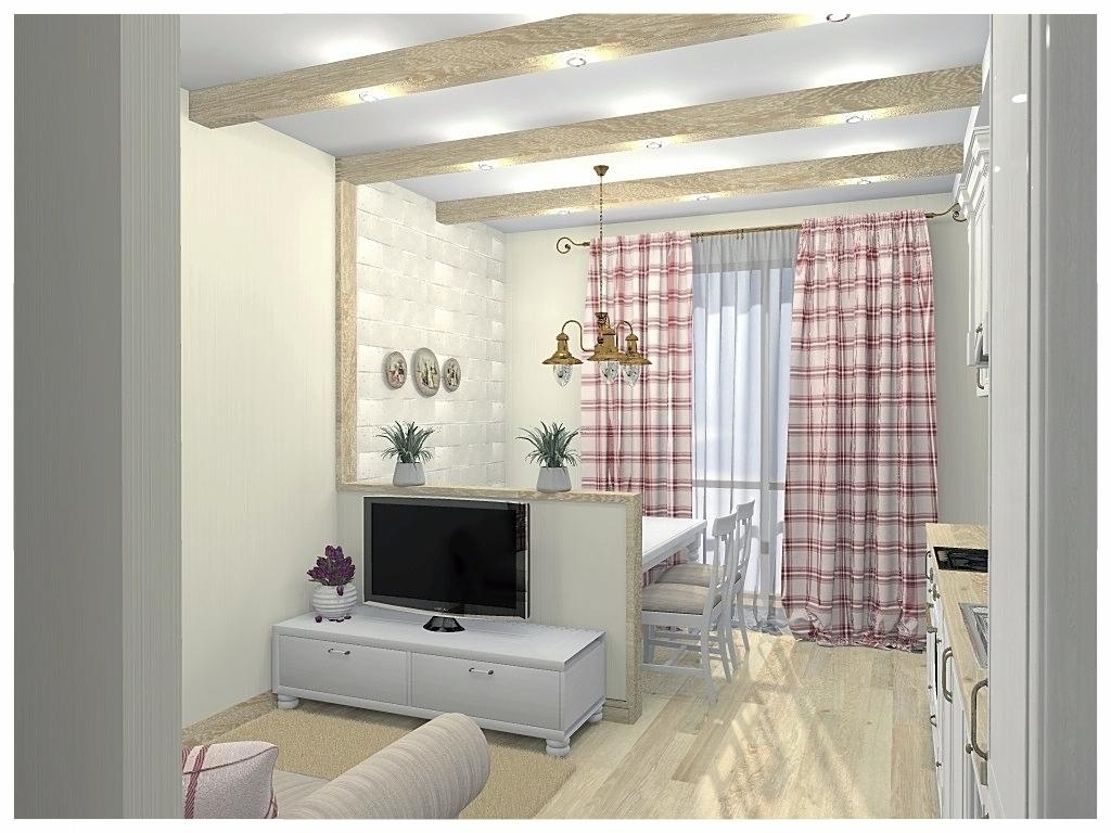 Дизайн интерьеров однокомнатной квартиры. Кухня-гостиная 1.