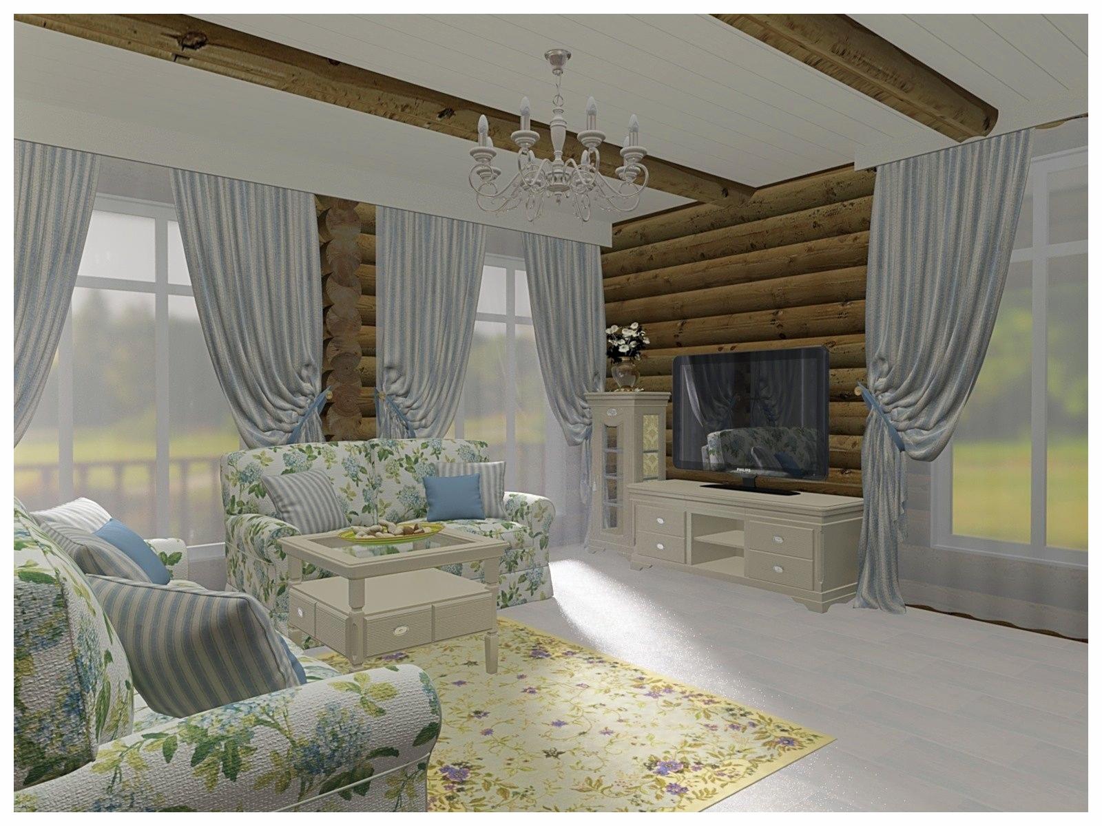 Дизайн интерьеров в коттедже из бревна. Зона ТВ.