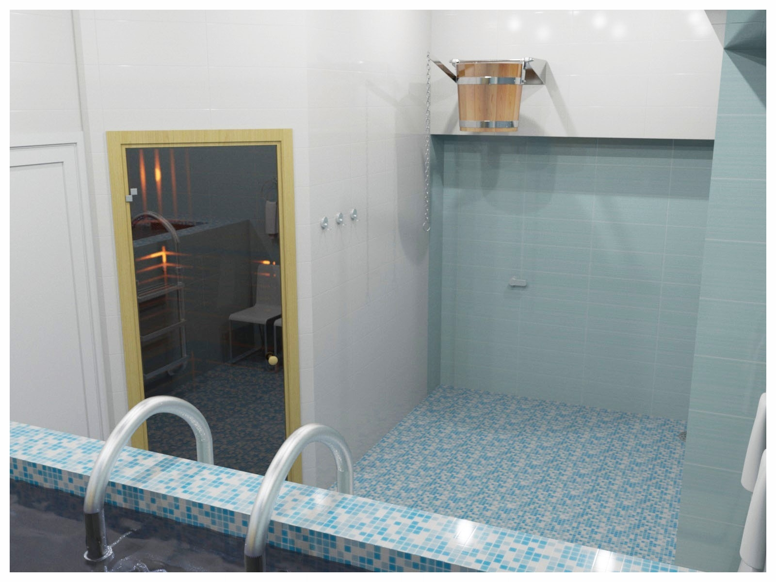 Дизайн интерьеров СПА в коттедже. Помывочная с бассейном 4.