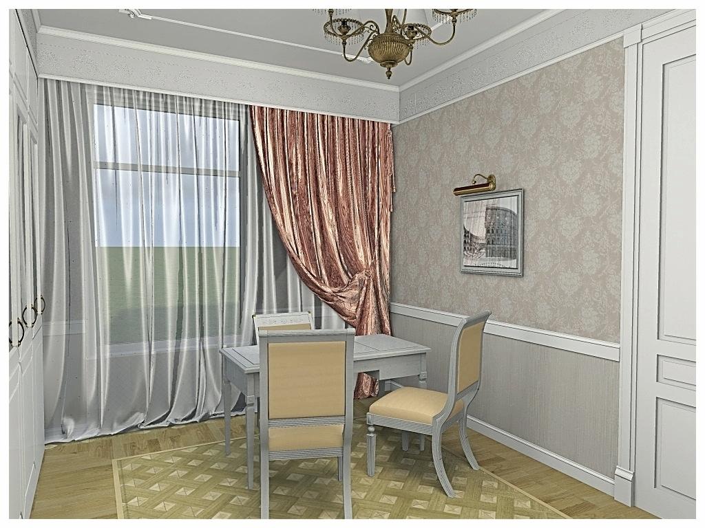 Дизайн интерьеров квартиры в дворцовом стиле. Кабинет .