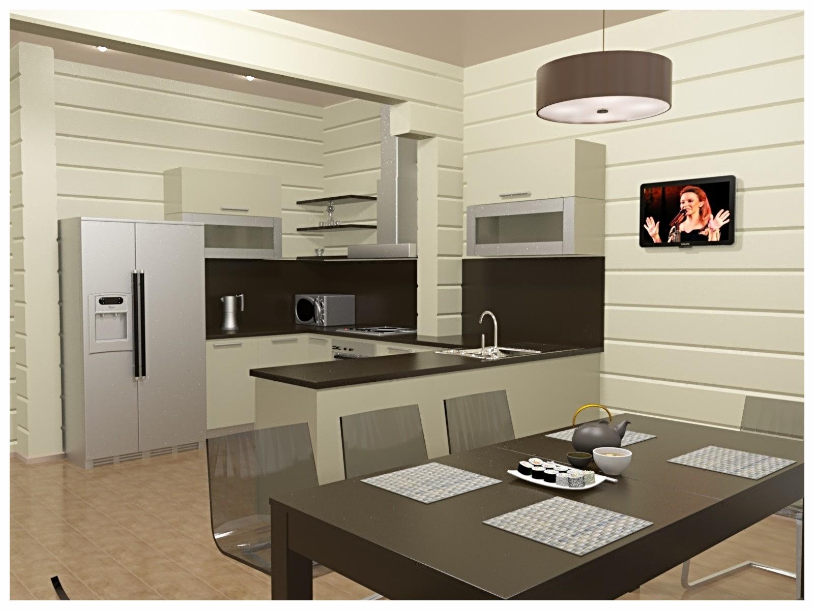 Дизайн интерьеров в коттедже из бруса. Кухня по договору на дизайн проект.