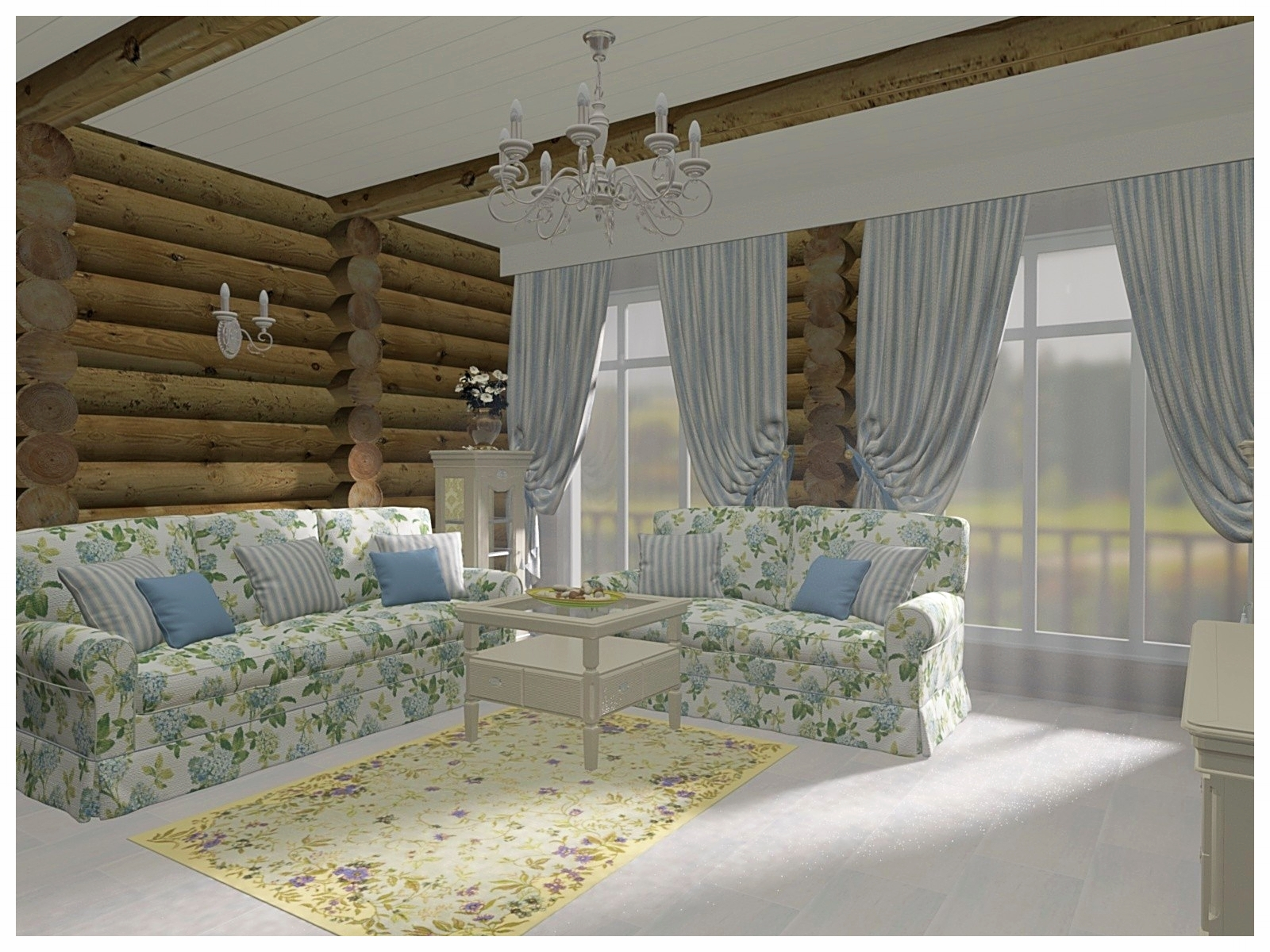 Дизайн интерьеров по договору на дизайн проект в коттедже из бревна. Зона мягкой мебели.