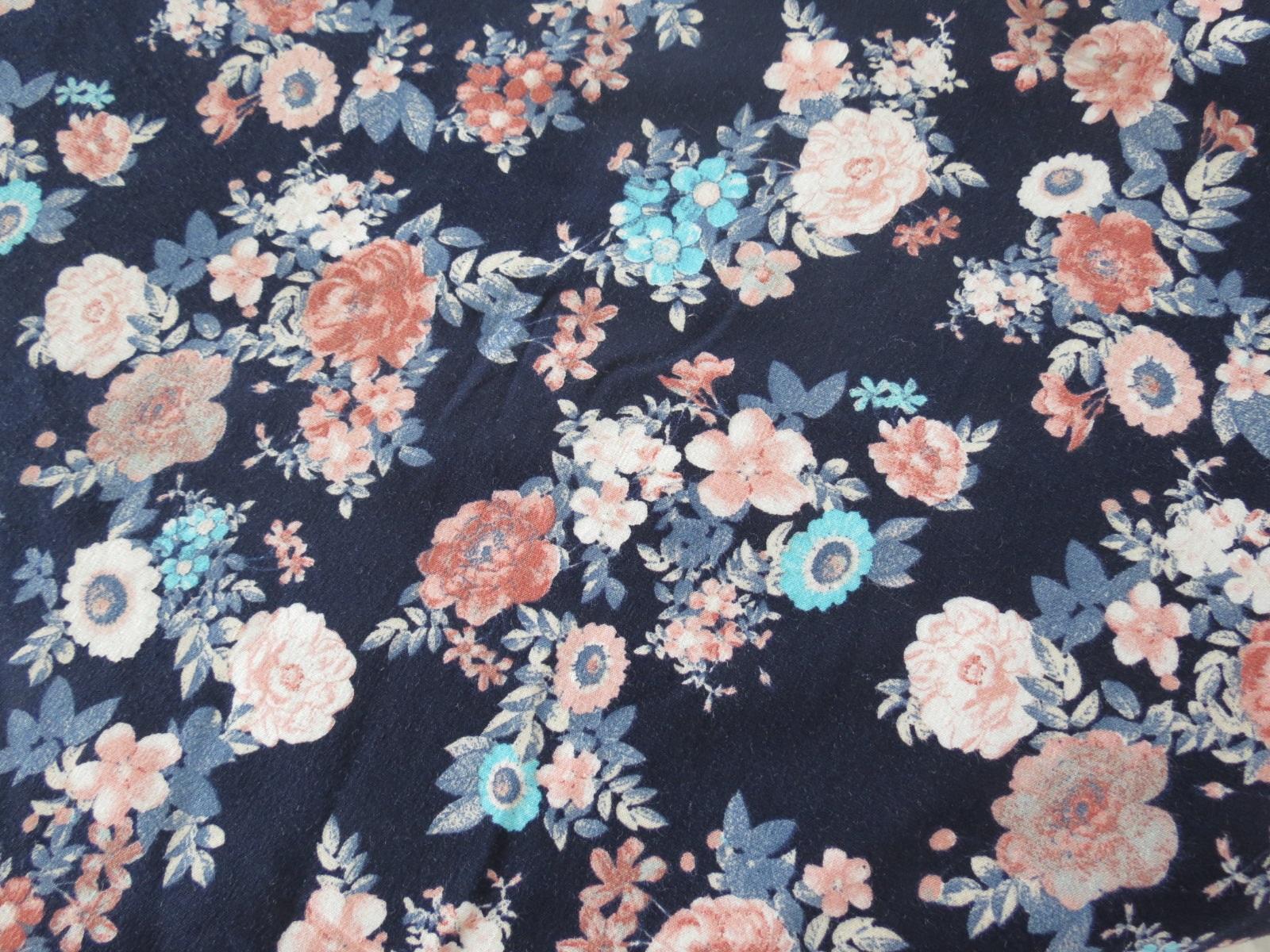 Jersey Blumen blau
